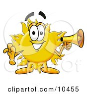 Clipart Picture Of A Sun Mascot Cartoon Character Holding A Megaphone by Toons4Biz