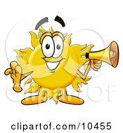 Sun Mascot Cartoon Character Holding A Megaphone