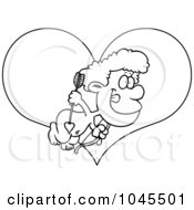 Royalty Free RF Clip Art Illustration Of A Cartoon Black And White Outline Design Of A Cupid Boy Over A Heart by toonaday
