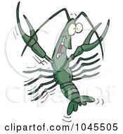 Royalty Free RF Clip Art Illustration Of A Cartoon Happy Crawdad