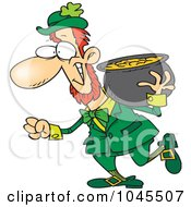 Royalty Free RF Clip Art Illustration Of A Cartoon Leprechaun Carrying His Pot Of Gold On His Shoulder by Ron Leishman