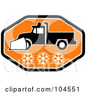 Royalty Free RF Clipart Illustration Of A Black And Orange Snow Plow Logo by patrimonio