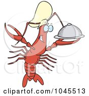 Cartoon Chef Crawdad Holding A Platter
