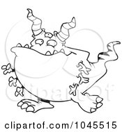 Cartoon Black And White Outline Design Of A Horned Monster