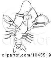 Royalty Free RF Clip Art Illustration Of A Cartoon Black And White Outline Design Of A Chef Crawdad Holding A Platter by toonaday