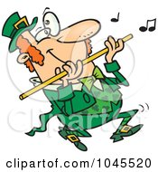 Cartoon St Patricks Day Leprechaun Playing A Flute