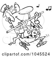 Royalty Free RF Clip Art Illustration Of A Cartoon Black And White Outline Design Of A St Patricks Day Leprechaun Playing A Flute by Ron Leishman