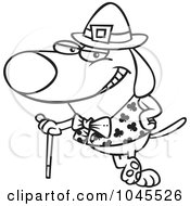 Royalty Free RF Clip Art Illustration Of A Cartoon Black And White Outline Design Of A St Patricks Day Dog Leaning On A Cane by Ron Leishman
