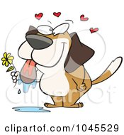 Royalty Free RF Clip Art Illustration Of A Cartoon Drooling Dog Holding A Flower