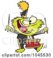 Royalty Free RF Clip Art Illustration Of A Cartoon Monster Banging A Drum by toonaday