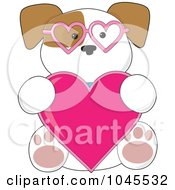 Puppy Wearing Heart Glasses And Holding A Heart