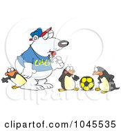 Royalty Free RF Clip Art Illustration Of A Cartoon Polar Bear Coaching Penguins For Soccer by toonaday