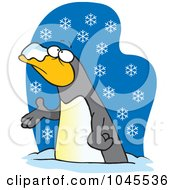 Royalty Free RF Clip Art Illustration Of A Cartoon Penguin In The Snow by toonaday