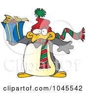 Cartoon Christmas Penguin Holding A Gift