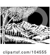 Black And White Woodcut Style Scene Of Mountains