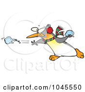 Royalty Free RF Clip Art Illustration Of A Cartoon Penguin Throwing A Snow Ball by toonaday