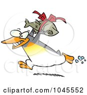Royalty Free RF Clip Art Illustration Of A Cartoon Penguin Carrying A Fish Gift by toonaday