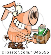 Royalty Free RF Clip Art Illustration Of A Cartoon Rich Phat Pig by toonaday