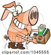 Royalty Free RF Clip Art Illustration Of A Cartoon Rich Phat Pig