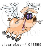 Royalty Free RF Clip Art Illustration Of A Cartoon Flying Pig