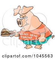Royalty Free RF Clip Art Illustration Of A Cartoon Pig Carrying A Sandwich by toonaday