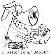 Royalty Free RF Clip Art Illustration Of A Cartoon Black And White Outline Design Of A Rich Phat Pig