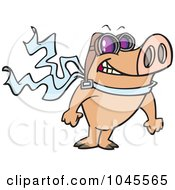 Royalty Free RF Clip Art Illustration Of A Cartoon Pilot Pig Posing by toonaday