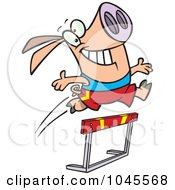 Royalty Free RF Clip Art Illustration Of A Cartoon Pig Leaping Over A Hurdle by toonaday