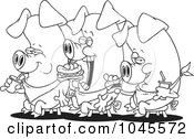 Royalty Free RF Clip Art Illustration Of A Cartoon Black And White Outline Design Of Three Eating Pigs