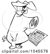 Royalty Free RF Clip Art Illustration Of A Cartoon Black And White Outline Design Of A Pig Holding A Calendar
