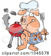 Royalty Free RF Clip Art Illustration Of A Cartoon Bbq Pig Wearing A Pig Out Apron by toonaday