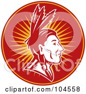 Royalty Free RF Clipart Illustration Of A Native American Chief Logo by patrimonio