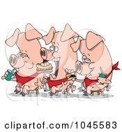 Royalty Free RF Clip Art Illustration Of Cartoon Three Eating Pigs