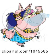 Royalty Free RF Clip Art Illustration Of A Cartoon Belly Dancing Pig by toonaday