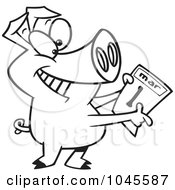 Royalty Free RF Clip Art Illustration Of A Cartoon Black And White Outline Design Of A Pig Holding A March 1st Calendar