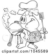 Royalty Free RF Clip Art Illustration Of A Cartoon Black And White Outline Design Of A Bbq Pig Wearing A Pig Out Apron by toonaday