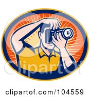 Royalty Free RF Clipart Illustration Of A Retro Male Photographer Shooting Photos In An Orange Sunburst Oval