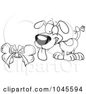 Royalty Free RF Clip Art Illustration Of A Cartoon Black And White Outline Design Of A Puppy With A Bell On His Tail Looking At A Bone
