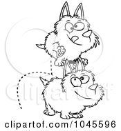 Royalty Free RF Clip Art Illustration Of A Cartoon Black And White Outline Design Of Dogs Leaping Over Each Other by toonaday