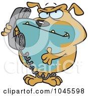 Royalty Free RF Clip Art Illustration Of A Cartoon Bulldog Talking On A Phone by toonaday