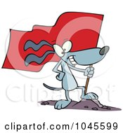 Cartoon Patriotic Dog Standing On A Mound With A Flag