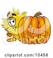 Sun Mascot Cartoon Character With A Carved Halloween Pumpkin