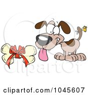 Royalty Free RF Clip Art Illustration Of A Cartoon Puppy With A Bell On His Tail Looking At A Bone