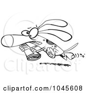 Royalty Free RF Clip Art Illustration Of A Cartoon Black And White Outline Design Of A Pressured Dog Carrying A Newspaper