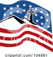 Royalty Free RF Clipart Illustration Of A Cross On A Hill Over An American Flag