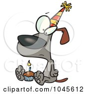 Royalty Free RF Clip Art Illustration Of A Cartoon Lonely Birthday Dog With A Cupcake
