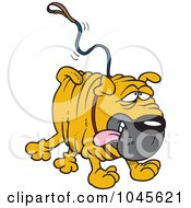 Royalty Free RF Clip Art Illustration Of A Cartoon Sharpei Dog Running With A Leash Attached