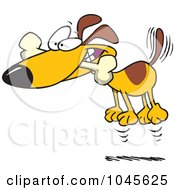 Royalty Free RF Clip Art Illustration Of A Cartoon Hyper Dog Jumping With A Bone In His Mouth