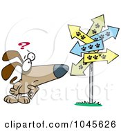 Royalty Free RF Clip Art Illustration Of A Cartoon Lost Dog Staring At Paw Print Signs by toonaday