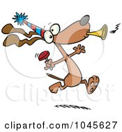 Royalty Free RF Clip Art Illustration Of A Cartoon Party Dog With Noise Makers